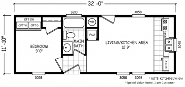Micro | 1 Bed · 1 Bath · 379 SqFt. 12 X 32 Single Wide | Economy Priced  Homes