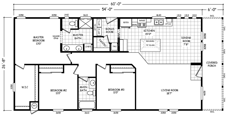 Parkview 28 x 60 1440 sqft mobile home factory select homes for Parkview homes floor plans
